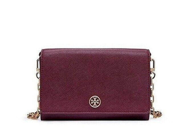 Primary image for NWT TORY BURCH Robinson Wallet On a Chain WOC Leather Crossbody Bag Shiraz Red
