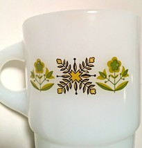 Anchor Hocking Fire King Ware Mug Meadow Green Flowers Milk Glass Stackable - $15.79