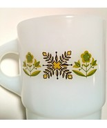 Anchor Hocking Fire King Ware Mug Meadow Green Flowers Milk Glass Stackable - £8.36 GBP