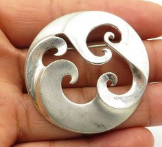 MIA 925 Sterling Silver - Vintage Swirl Cutout Detail Round Brooch Pin -... - $44.10