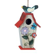 #10018424 *Country Flowers Wood Bird House with Butterfly* - £17.98 GBP