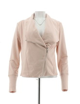 Halston French Terry Motorcycle Flyaway Jacket Blush 12 NEW A269417 - $30.67