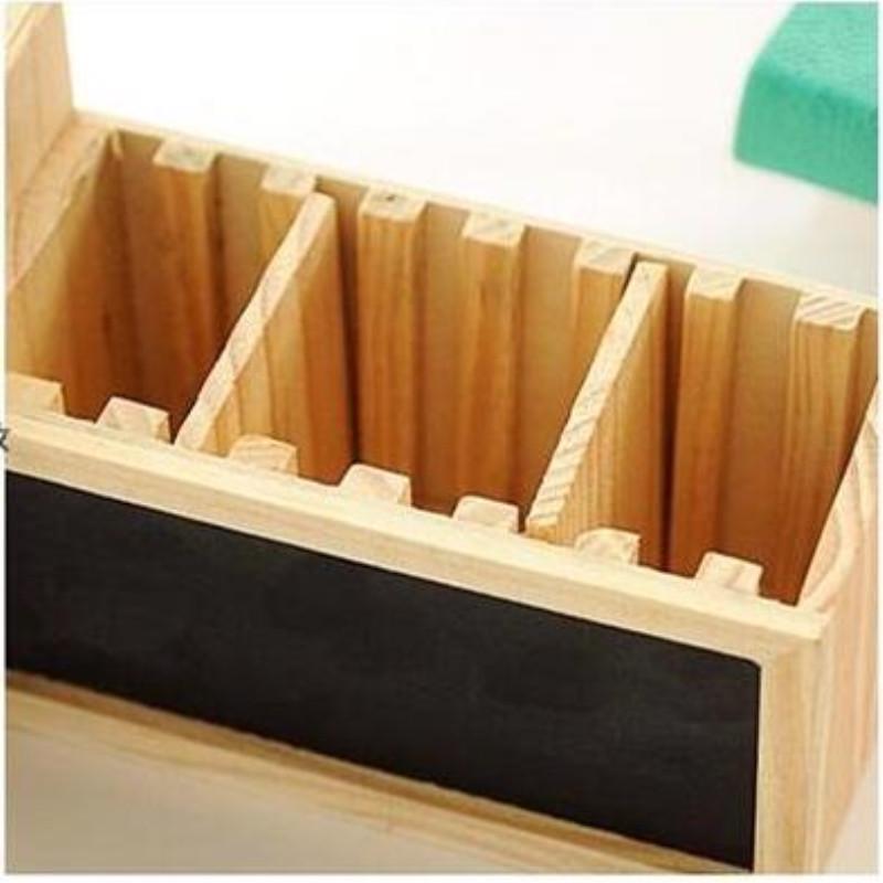 Creative Desk Wooden Pen Holder Blackboard Desktop School Pencil Box Organizer