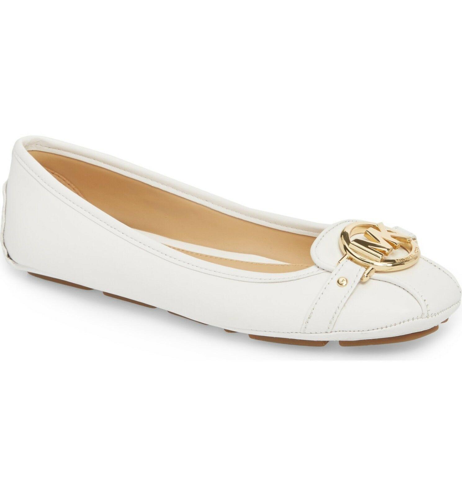 Michael Kors MK Women's Premium Designer Fulton Moccasin Flats Optic White