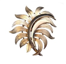 Vintage trifari gold tone large brooch floral  signed costume jewelry pi... - $34.21