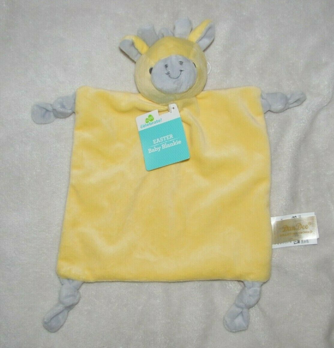 Primary image for DANDEE DAN DEE YELLOW GRAY GIRAFFE SECURITY BLANKET LOVEY KNOT RATTLE TOY NWT