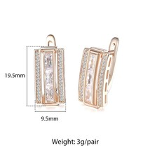 Rectangle Paved Cubic Zirconia CZ Earrings For Women 585 Rose Gold Women's Stud  - $17.77