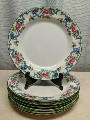 "Primary image for 8 Royal Doulton Fine China FLORADORA GREEN Dinner Plates 10 1/2"" Floral Design"