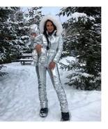 Winter Jumpsuit Women Men Metallic Silver Ski Snow Suit Glanznylon Gloss... - $249.00