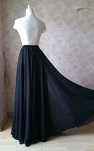 Women Black Chiffon Maxi Skirt Slit Black Silk Chiffon Maxi Skirt with Split image 2