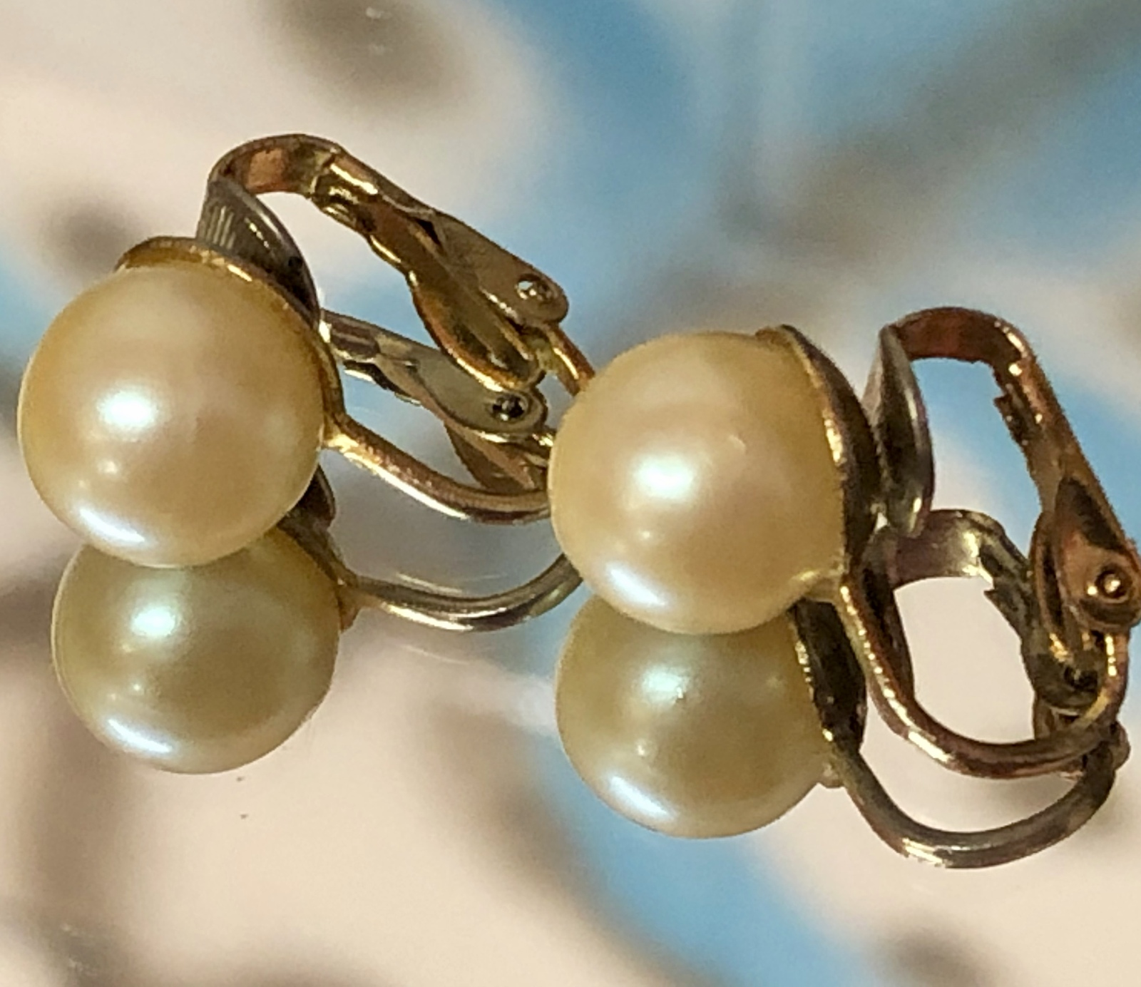 """VTG 50s Faux Pearl Ball Gold Tone 1/2"""" Clip On Earrings~Retro~Wedding~Occasion"""