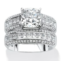 3.37 TCW CZ 2-Piece Bridal Set in Platinum over .925 Silver - $199.99