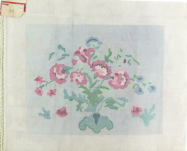 1970's Hand Painted Needlepoint Pink Carnations Sky Blue In Green Fields - $33.30