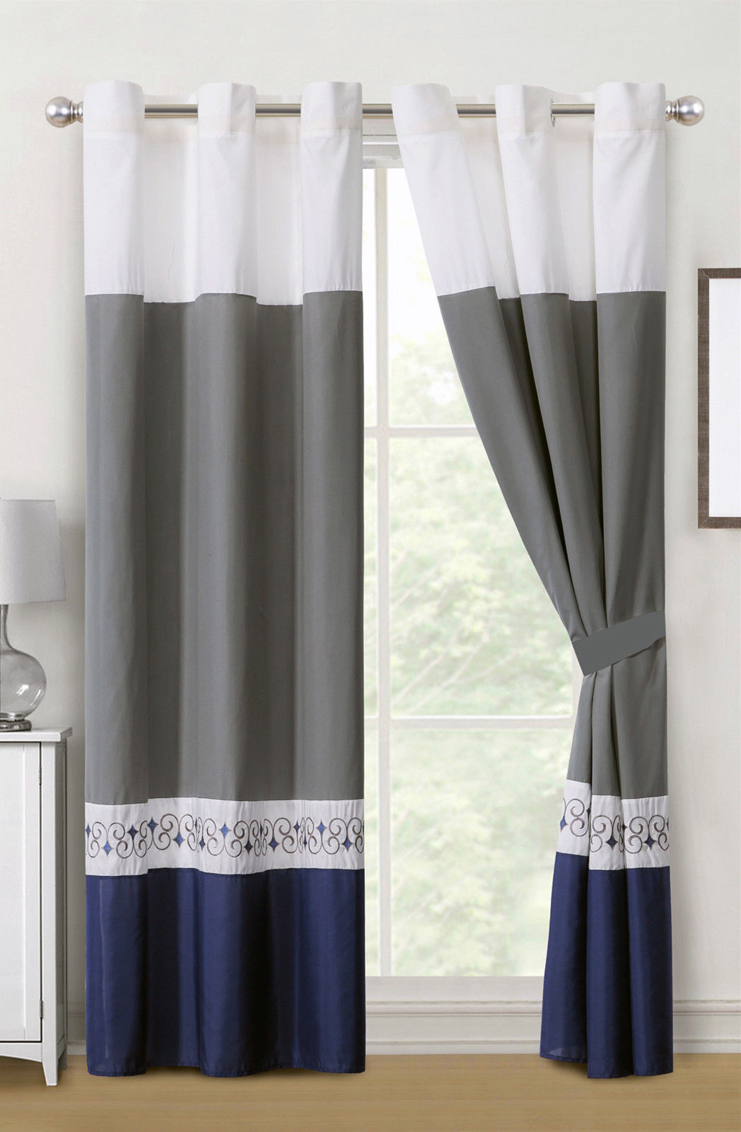 Primary image for 4-Pc Barb Spanish Scroll Diamond Embroidery Curtain Set Blue Gray White Grommet