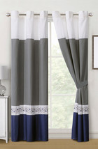 4-Pc Barb Spanish Scroll Diamond Embroidery Curtain Set Blue Gray White ... - $40.89