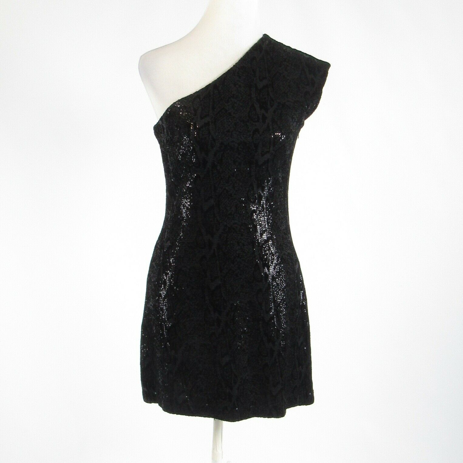 Primary image for Black gray snake HALSTON HERITAGE sequin sleeveless sheath dress 8