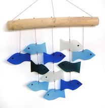 Blue Handworks Glass Wind Chime, Swimming Fish - $28.95