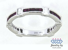 Ruby Baguette Gemstone 14K White Gold 0.63CT Natural Diamond Band Fine J... - $2,387.88