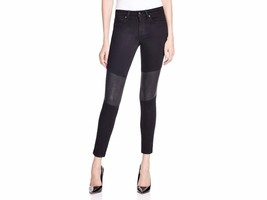 Joe's Flawless The Phoenix Ankle Black Skinny Leather & Fabric Jeans Siz... - $98.01