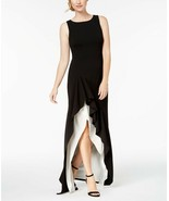 Calvin Klein WOMEN'S  Colorblocked High-Low Gown BLACK/IVORY SIZE 8 - $61.38