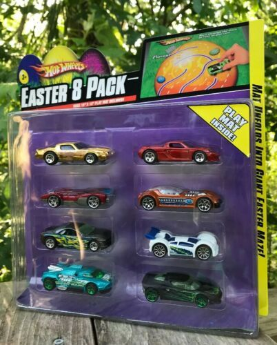 "NIP Mattel Hot wheels 8 Jaguar Cars + Maze Mat 15"" x 18"" Easter Pack 2008 P8190"