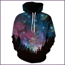 Night Forest Blue Painted Universe Long Sleeve Cotton Pullover Hoodie Sw... - $82.95