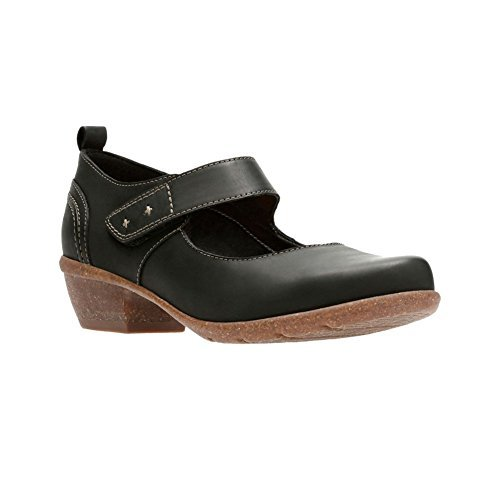 Clarks Women's Wilrose Glen Mary Jane Flat, Black Nubuck, 7 M US