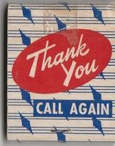 Vtg Strike on Matchbook ~ Thank You Call Again - $7.91