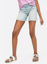 Justice Girl's Size 10 Plus Destructed Fray Hem Denim Midi Shorts New with Tags - $19.79