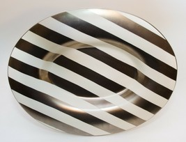 Designer Pottery Oval Platers Plate Gold Rimmed Striped Design by Laurie... - $94.05