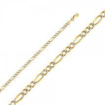 14K Two Tone Gold 4mm White Pave Figaro Chain - £219.63 GBP+
