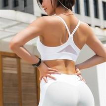 Women Sports Bra Mesh Patchwork Gym Fitness Crop Top Shakeproof Running ... - $30.87