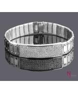 3 Ct Men's ID Screw Link Diamond Bracelet 14k White Gold Handmade 57.8 g 8'' - $6,086.65