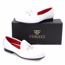 FERUCCI white custom-made Velvet Slippers loafers with White Tassel (ALL WHITE) - $159.99