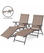 Chaise Reclining Lounge Chairs Set of 2 Outdoor Adjustable Folding Steel... - $208.25