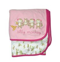 Gymboree Silly Monkey Pink Baby Girl Reversible Blanket Cotton Palm Tree  - $24.19