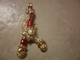 Swarovski Crystal  Red Ename & Gold Plate  Acrobat Clown Moving Arms Pendant - $39.55