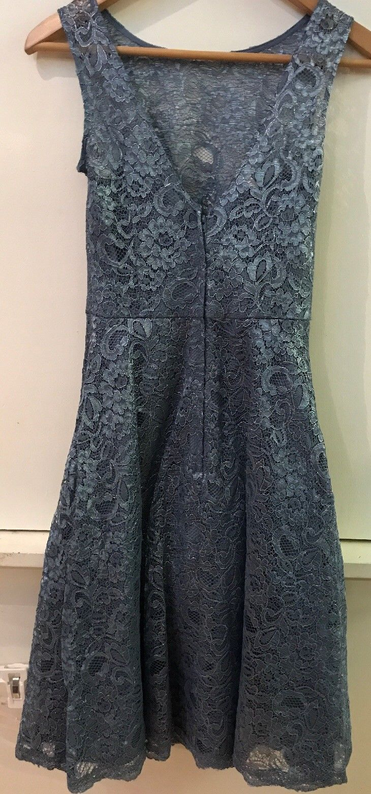 Women's Bridesmaid Dress Davids Bridal size 0 Metallic Steel Blue Lace