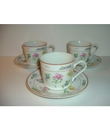 3 Vintage Georges Briard Floral Fantasy Cups and 3 Saucers - $14.99