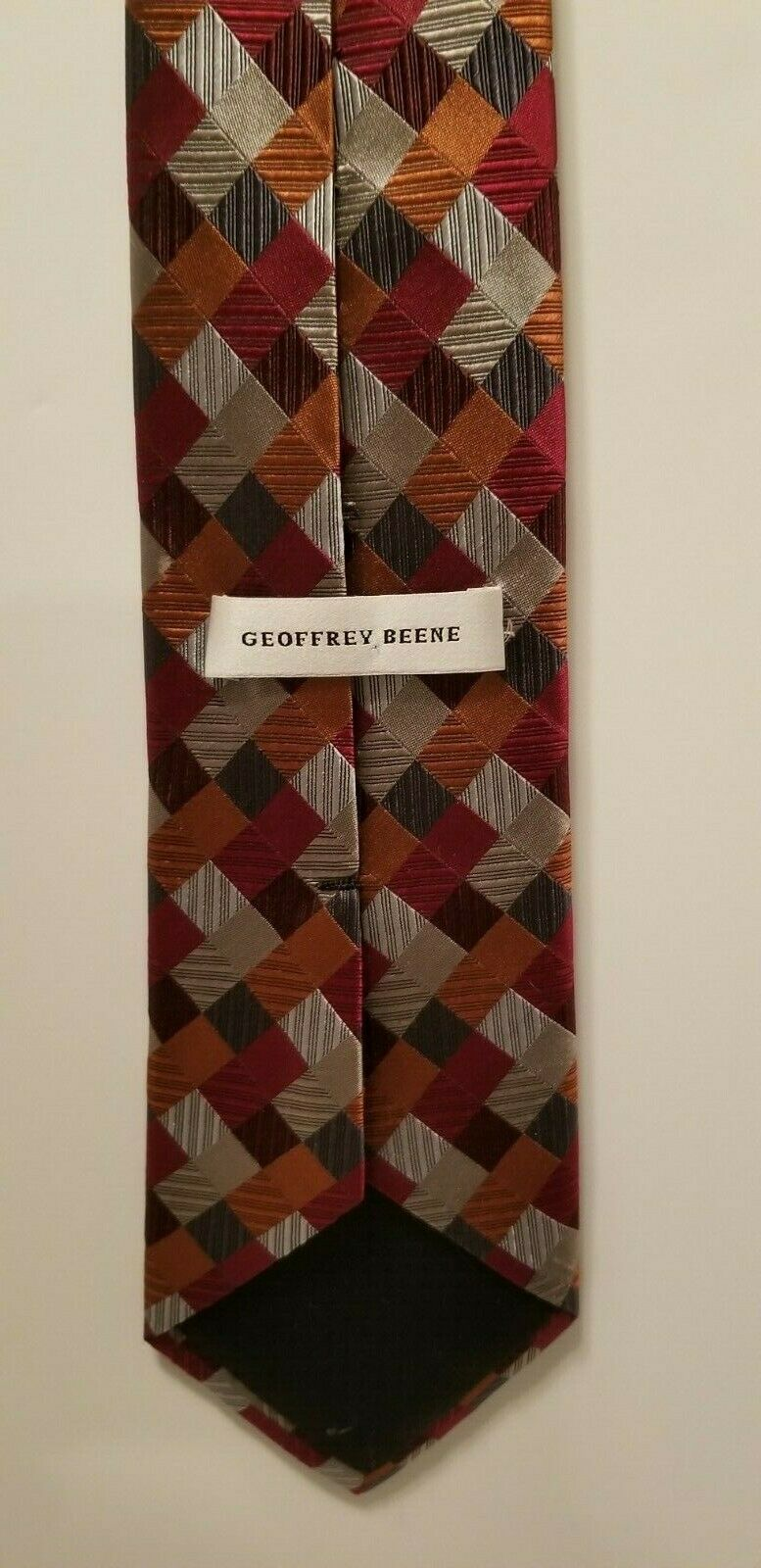 Sexy Geoffrey Beene 100% Silk Red Blue Silver Patchwork Diamonds Tie Necktie image 4