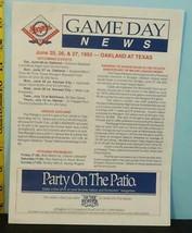 1993 Texas Rangers Baseball Gameday News Letter - $0.98