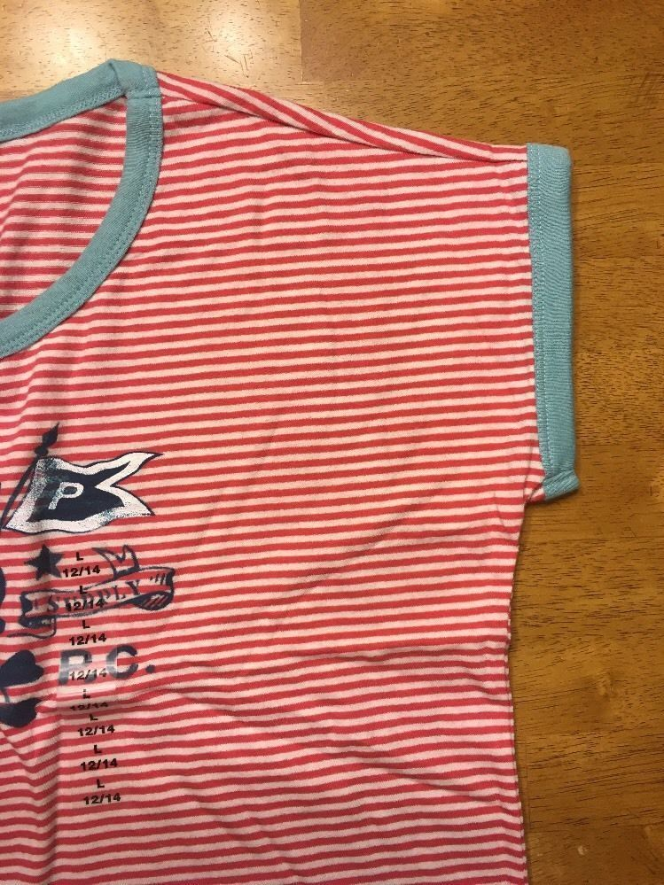 NWT Ralph Lauren Girl's Red Striped Blue Trim Pirate Shirt Size Large 12/14 image 7