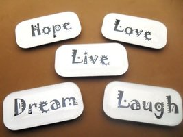 Fridge Memo Board Glass Live Love Laugh Magnets Set 5 - $13.81