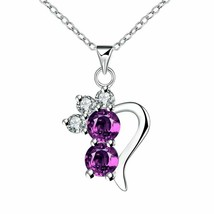 Personalities Silver Set New Arrival With Purple Cubic Zirconia Ladies Necklaces - $12.76