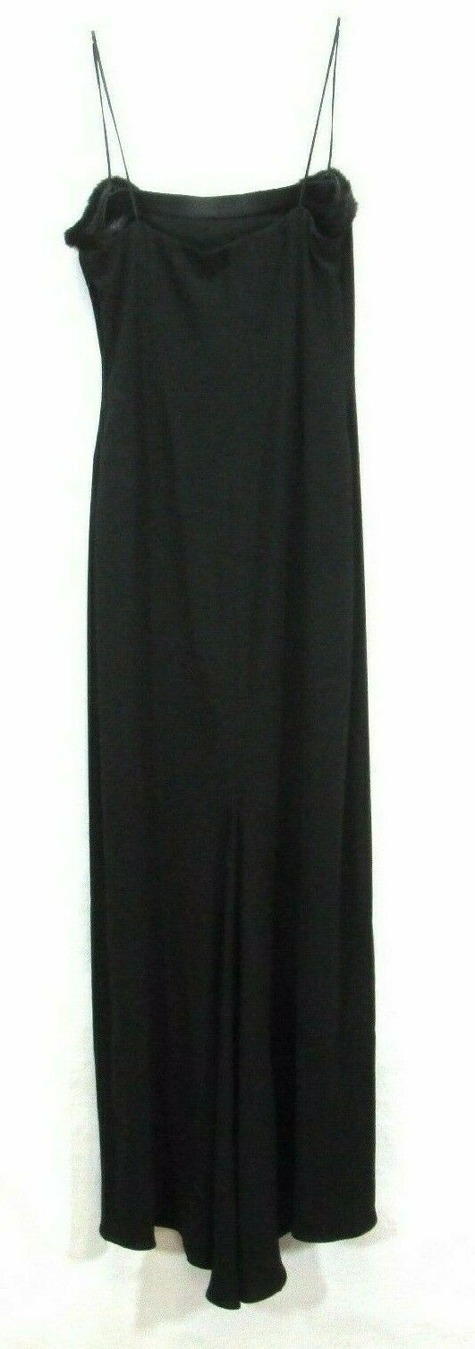 Tahari Long Black Evening Dress Spaghetti Straps Size 8P Mermaid Flare  - $24.14