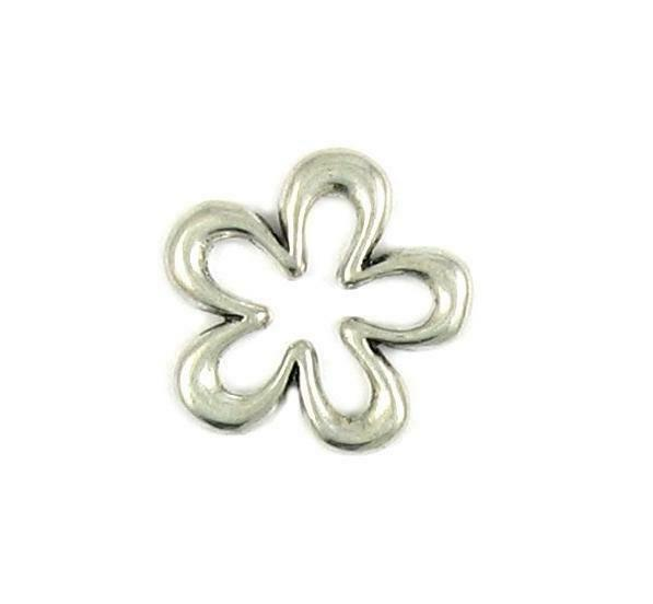 OPEN BORDER FLOWER CHARM FINE PEWTER PENDANT CHARM - 23x23x2mm