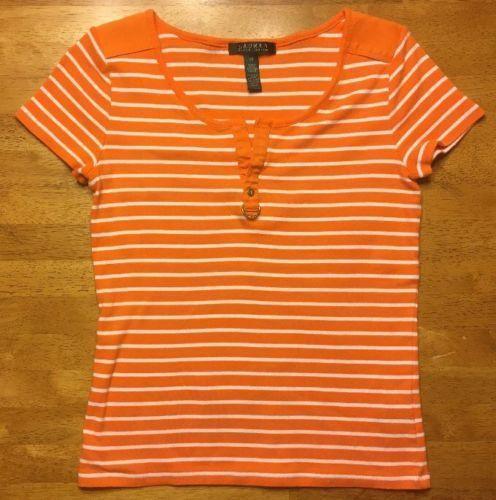 48a6e92fd709df 57. 57. Previous. Ralph Lauren Women's Orange & White Striped Short Sleeve V -Neck Shirt - Size: