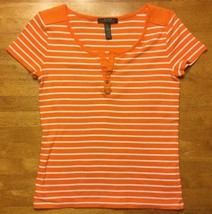Ralph Lauren Women's Orange & White Striped Short Sleeve V-Neck Shirt - ... - $17.99