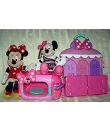 Disney Minnie Mouse 2 Dolls Sparkle 'n Spin Fashion Bow-tique House & Mi... - $47.59