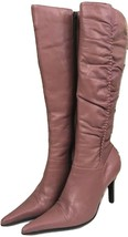 CARLOS by Carlos Santana Womens 5.5 M Knee high Leather Ruched Boots Coral - $13.99